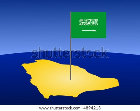 map of Saudi Arabia and their flag on pole illustration