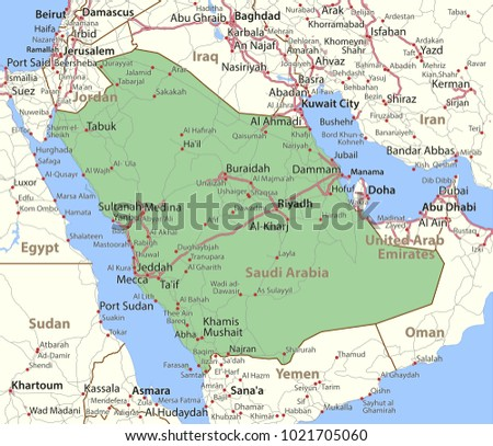 Map Saudi Arabia Shows Country Borders Stock Vector - Wad madani map