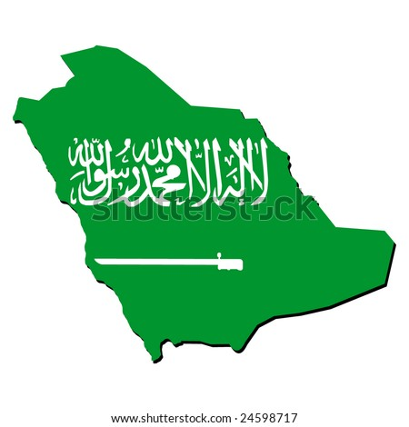 map of Saudi Arabia with their flag illustration