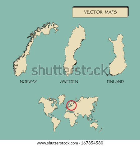 Map scandinavia countries sweden norway finland stock vector map of scandinavia countries sweden norway finland vector illustration gumiabroncs