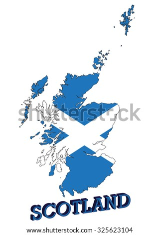 Map of Scotland, UK with St. Andrew's cross flag - stock vector