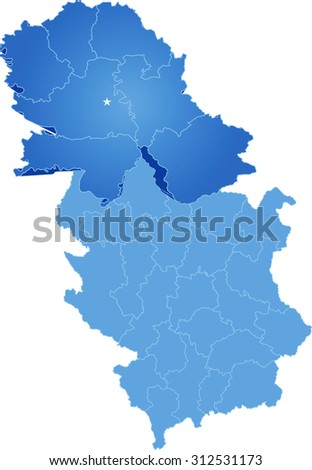 Map of Serbia, Autonomous Province of Vojvodina is pulled out, isolated on white background