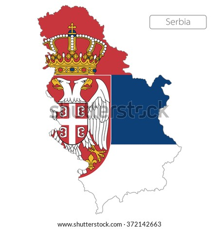 map of Serbia with the flag. Europe