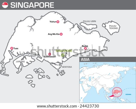 Map of Singapore - stock vector