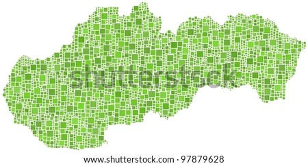 Map of Slovakia (Europe) in a mosaic of green squares. A number of 4022 little squares are accurately inserted into the mosaic. White background.