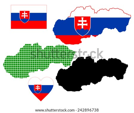 map of Slovakia in different colors on a white background  - stock vector