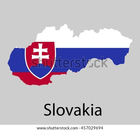 Map of Slovakia with flag. Vector illustration.