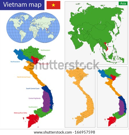 Map of Socialist Republic of Vietnam with the provinces colored in bright colors - stock vector