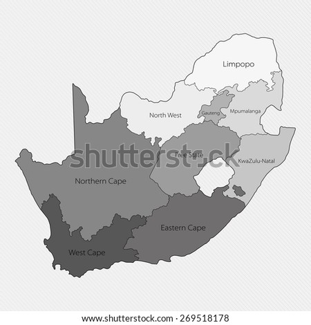 Map of South Africa. Administrative division - stock vector