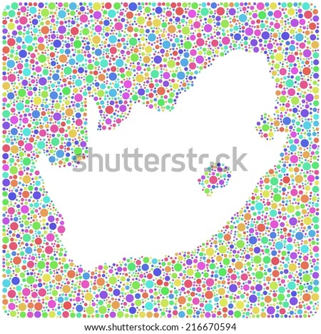 Map of South Africa into a square icon. Mosaic of harlequin circles - stock vector