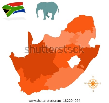 Map of South Africa, regions - stock vector