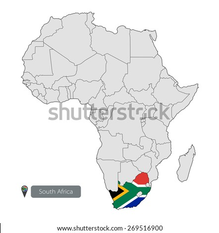 Map of South Africa with an official flag. Location on the continent of Africa - stock vector