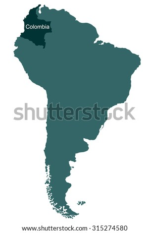 Map of South America, Colombia - stock vector