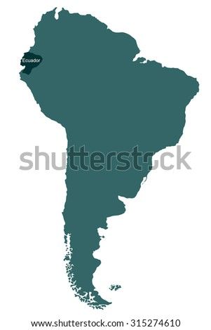 Map of South America, Ecuador - stock vector
