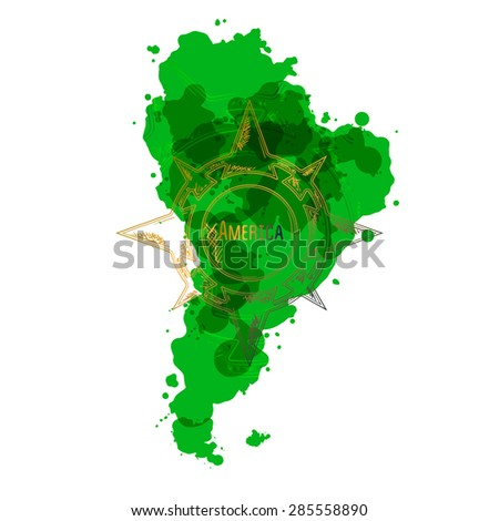 map of South America from the colored spots with a sign of the wind rose - stock vector