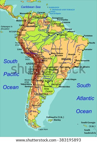 Map of South America. Names of the countries, the cities and the rivers are on isolated layers. Vector illustration