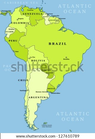 Map south america political division countries stock vector royalty map of south america political division countries and capital ciites countries are separate gumiabroncs