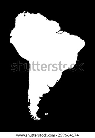 Map of South America. White silhouette of the mainland on black background - stock vector