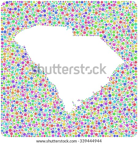 Map of South Carolina - USA - into a square icon. Mosaic of harlequin circles - stock vector