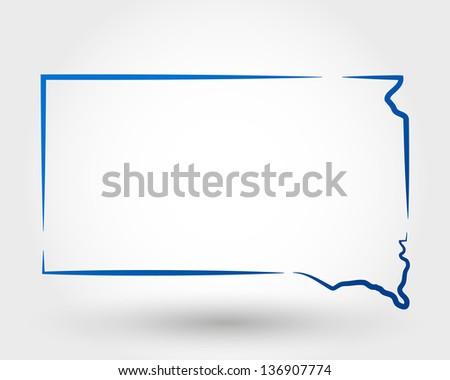 map of south dakota. map concept - stock vector