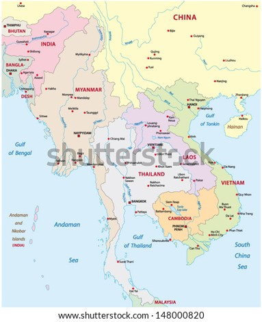 map of south east asia - stock vector