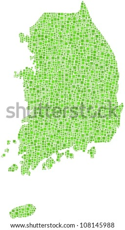 Map of South Korea - Asia - in a mosaic of green squares. A number of 3532 little squares are accurately inserted into the mosaic. White background. - stock vector