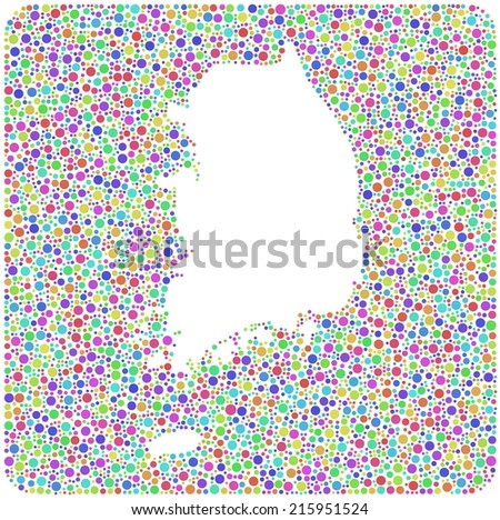 Map of South Korea - Asia - in a mosaic of harlequin colored bubbles - stock vector