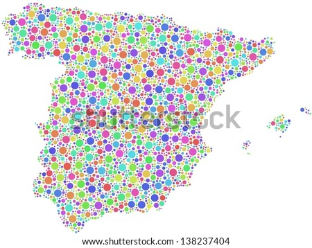 Map of Spain - Europe - in a mosaic of harlequin bubbles. A number of 3191 circles are accurately inserted into the mosaic. White background. - stock vector