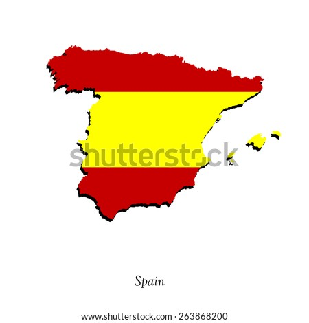 Map of Spain  for your design, concept Illustration. - stock vector
