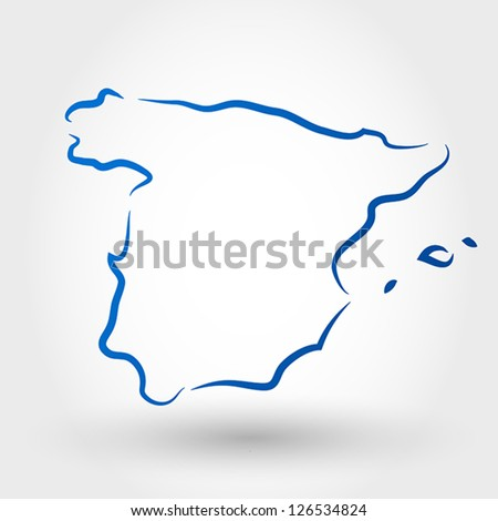 map of spain. map concept - stock vector