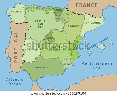 Map of Spain. Outline illustration country map autonomous communities. - stock vector