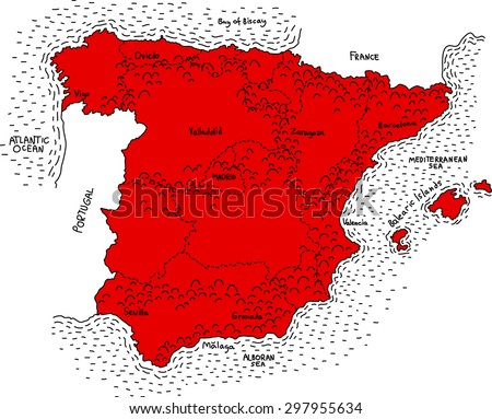 Map of Spain, Vector map of Spain, Spanish map, Lines map of Spain, Spanish map, Vintage Spain map, old map of spain, stylish map of Spain - stock vector