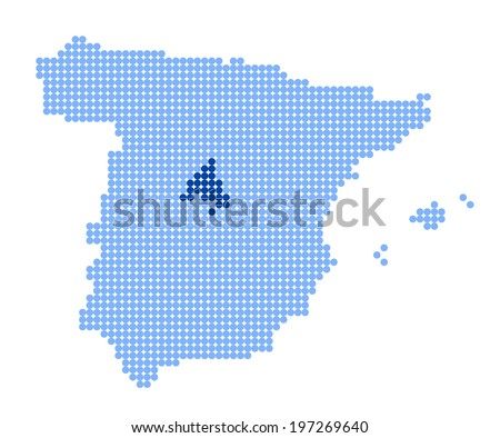 Map of Spain with stylized map of Community of Madrid made from blue dots (vector) - stock vector