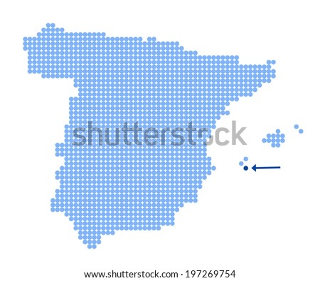 Map of Spain with stylized map of Formentera made from blue dots (vector) - stock vector