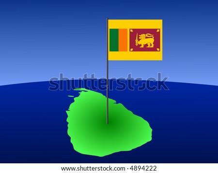 map of Sri Lanka and their flag on pole illustration - stock vector
