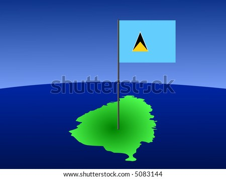 map of St Lucia and their flag on pole illustration