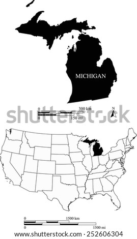 Map of state of Michigan along with USA map and scale - stock vector