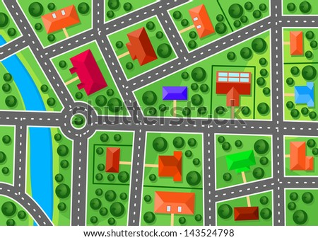 Map of suburb for real estate or navigation design. Jpeg version also available in gallery  - stock vector