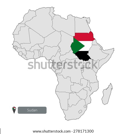 Map Sudan Official Flag Location On Stock Vector - What continent is sudan in