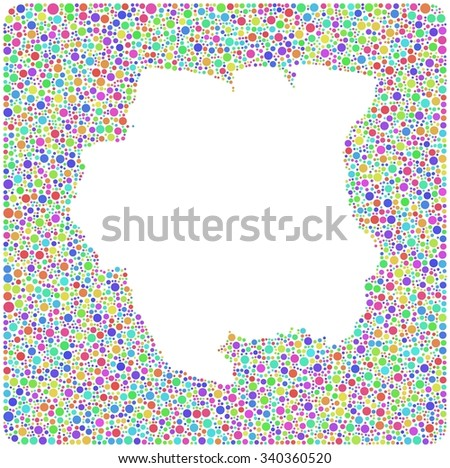 Map of Suriname - Latin America - in a mosaic of harlequin bubbles   White background - stock vector