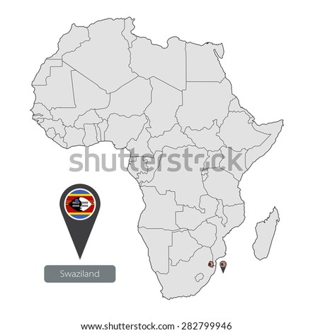 Map Swaziland Official Flag Location On Stock Vector 282799946 ...