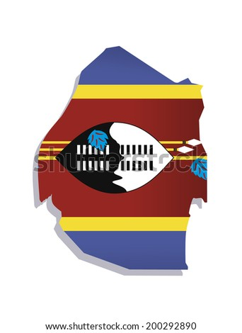 map of Swaziland with the image of the national flag - stock vector