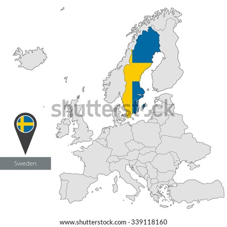 D Map Sweden Swedish Flag On Stock Illustration - Sweden european map
