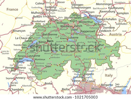 Map Switzerland Shows Country Borders Urban Stock Vector HD Royalty