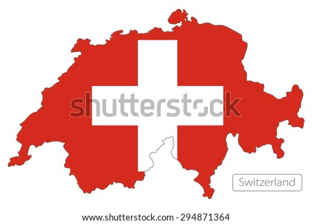 Map of Switzerland with an official flag. Illustration on white background