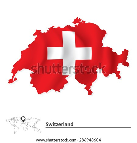 Map of Switzerland with flag - vector illustration - stock vector