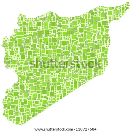Map of Syria - middle east - in a mosaic of green squares - stock vector
