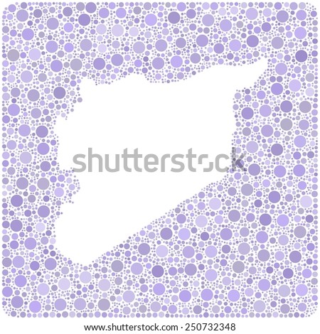 Map of Syria - middle east - into a square icon. Mosaic of colored circles - stock vector