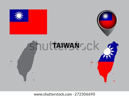 Map of Taiwan and symbol - stock vector
