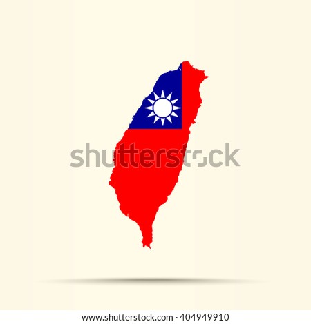 Map of Taiwan in Taiwan flag colors - stock vector